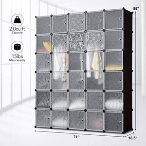 Budget friendly tangkula cube storage organizer cube closet storage shelves diy plastic pp closet cabinet modular bookcase large storage shelving with doors for bedroom living room office 30 cube