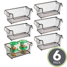 Load image into Gallery viewer, Selection mdesign modern farmhouse metal wire household stackable storage organizer bin basket with handles for kitchen cabinets pantry closets bathrooms 12 5 wide 6 pack bronze