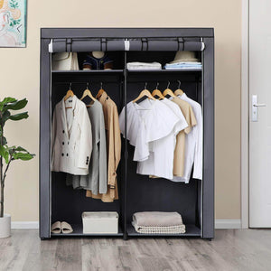 Results songmics closet storage organizer portable wardrobe with hanging rods clothes rack foldable cloakroom study stable 55 1 x 16 9 x 68 5 inches gray uryg02gy
