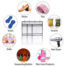 Load image into Gallery viewer, Great kootek 2 pack over the door shoe organizers 12 mesh pockets 6 large mesh storage various compartments hanging shoe organizer with 8 hooks shoes holder for closet bedroom white 59 x 21 6 inch