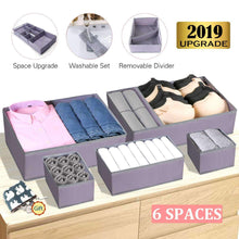 Load image into Gallery viewer, Great drawer organizer clothes dresser underwear organizer washable deep socks bra large boxes storage foldable removable dividers fabric basket bins closet t shirt jeans leggings nursery baby clothing gray