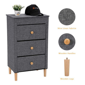 Heavy duty kamiler 3 drawer dresser nightstand beside table end table storage organizer tower unit for bedroom hallway entryway closets removable fabric bins no tool required to assemble