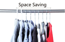 Load image into Gallery viewer, Storage finnhomy super value 50 pack plastic hangers durable clothes hangers with non slip pads space saving easy slide organizer for bedroom closet wardrobe great for shirts pants scarves