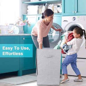 Shop here cleebourg large laundry clothes hamper foldable laundry hamper with lid and handles easily transport laundry dirty clothes basket grey hamper for closet bathroom dorm 90l