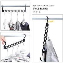 Load image into Gallery viewer, Top rated ipow 6 pack magic hanger heavy duty plastic closet space saving hanger wardrobe clothing cascading hanger organizer for easy wrinkle free shirts pants and coats
