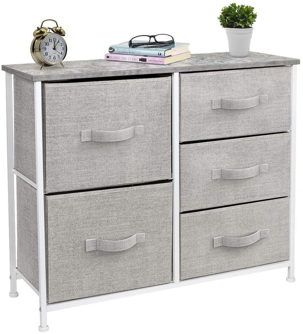 Latest sorbus dresser with 5 drawers furniture storage tower unit for bedroom hallway closet office organization steel frame wood top easy pull fabric bins gray