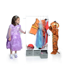 Load image into Gallery viewer, Amazon best milliard dress up storage kids costume organizer center open hanging armoire closet unit furniture for dramatic play with mirror baskets and hooks