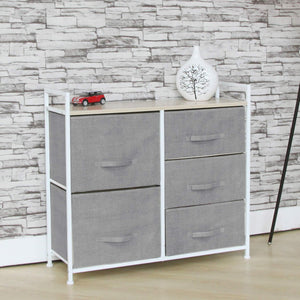 Buy fancy linen 5 light grey drawer storage chest vertical organizer unit with fabric bins and wood top for bedrooms hallways living room nursery room playroom and closets new