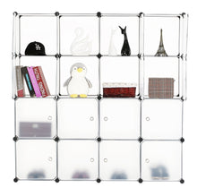 Load image into Gallery viewer, Try bastuo 16 cubes diy storage cabinet clothes wardrobe closet bookcase shelf baskets modular cubes closet for toys books clothes white with doors