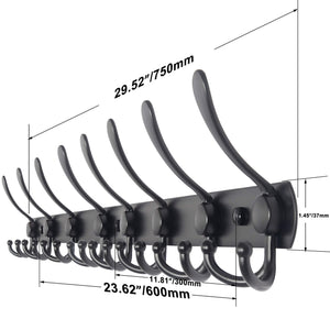 Organize with webi coat rack wall mounted 30 inch 8 tri hooks 24 hooks decorative coat hat hook rack heavy duty triple hook rail wall hanging hooks for bathroom kitchen office entryway closet black 2 packs