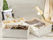 Load image into Gallery viewer, Organize with foldable closet drawer organizer set of 3 storage containers moisture and dust proof storage baskets beautiful textured fabric sturdy build perfect for home and office galliana