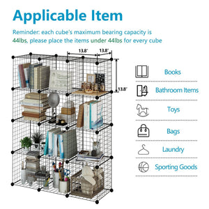 Budget tespo wire cube storage shelves book shelf metal bookcase shelving closet organization system diy modular grid cabinet 12 cubes
