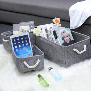 Storage kedsum fabric storage bins baskets foldable linen storage boxes with handles closet organizers bins cube storage baskets bins for shelves clothes closet nursery gray 3 pack