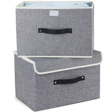 Load image into Gallery viewer, Kitchen storage bins set meelife pack of 2 foldable storage box cube with lids and handles fabric storage basket bin organizer collapsible drawers containers for nursery closet bedroom homelight gray