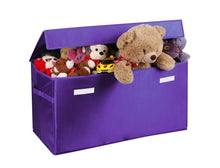 Load image into Gallery viewer, Related prorighty collapsible toy chest for kids xx large storage basket w flip top lid toys organizer bin for bedrooms closets child nursery store stuffed animals games clothes purple