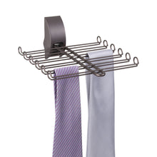 Load image into Gallery viewer, Results mdesign wall mount tie and belt rack organizer for closet storage bronze
