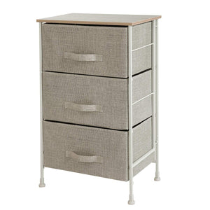 Purchase leaf house fabric 3 drawer storage organizer unit nightstand for nursery closet bedroom bathroom entryway beige no tools required