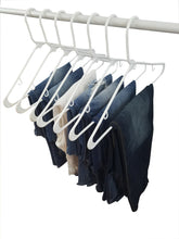 Load image into Gallery viewer, Home white plastic clothes hangers the best choice everyday standard suit clothe hanger target set bulk beauty closet room pack adult clothing drying rack dress form shirt coat hangers with j hooks