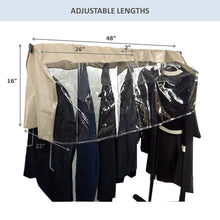 Load image into Gallery viewer, Top rated garment cover for closet rod and portable clothing rack shoulder dust cover protect your wardrobe in style adjustable to fit 26 to 48 long 6 pack