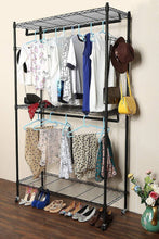 Load image into Gallery viewer, Home modrine double rod garment rack 3 tiers heavy duty hanging closet with lockable rolling wheels 2 side hooks and 2 clothes rods black