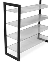 Load image into Gallery viewer, Shop internets best mesh shoe rack 4 tier free standing metal wood shoe organizer closet and entryway fits 16 pairs of shoes black silver