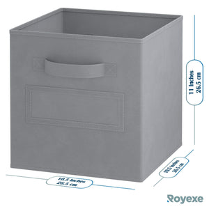Get royexe storage cubes set of 8 storage baskets features dual handles 10 label window cards cube storage bins foldable fabric closet shelf organizer drawer organizers and storage grey