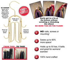 Load image into Gallery viewer, Buy bt hanger tie rack tie holder tie hanger belt hook hangers in a closet organizer with non wood racks hold ties bow tie for men and mens belts and hanging accessories by rotating swiveling hooks
