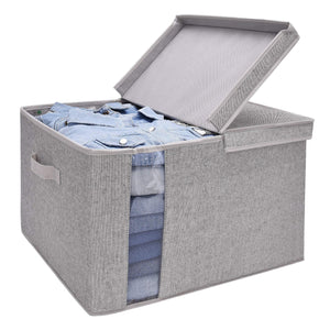 Featured storageworks closet storage organizer with transparent clear window storage boxes with lid double open lid gray cotton fabric box jumbo