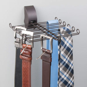 Save mdesign wall mount tie and belt rack organizer for closet storage bronze