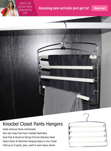Best seller  knocbel pants clothes hanger closet organizer 4 layers non slip swing arm hangers hook rack for slacks jeans trousers skirts scarf 2 pack beige