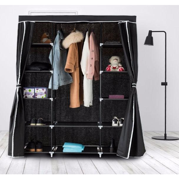 Black 60-inch Wardrobe Closet Portable Clothes Storage Organizer