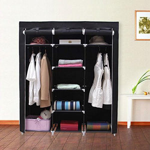 Steel Frame Black Fabric Portable Wardrobe Clothes Closet with Storage Shelves
