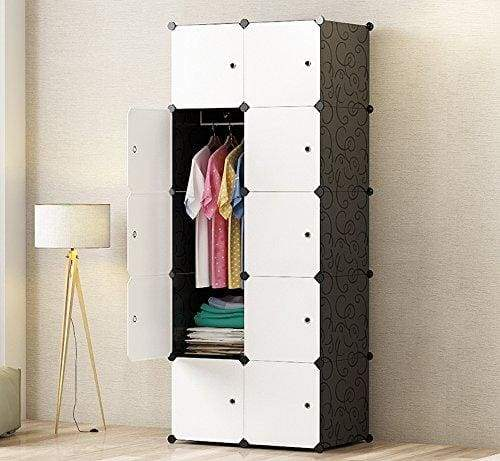 PREMAG DIY Portable Wardrobe Closet, Modular Storage Organizer, Space Saving Armoire, Deeper Cube With Hanging Rod 10 cubes