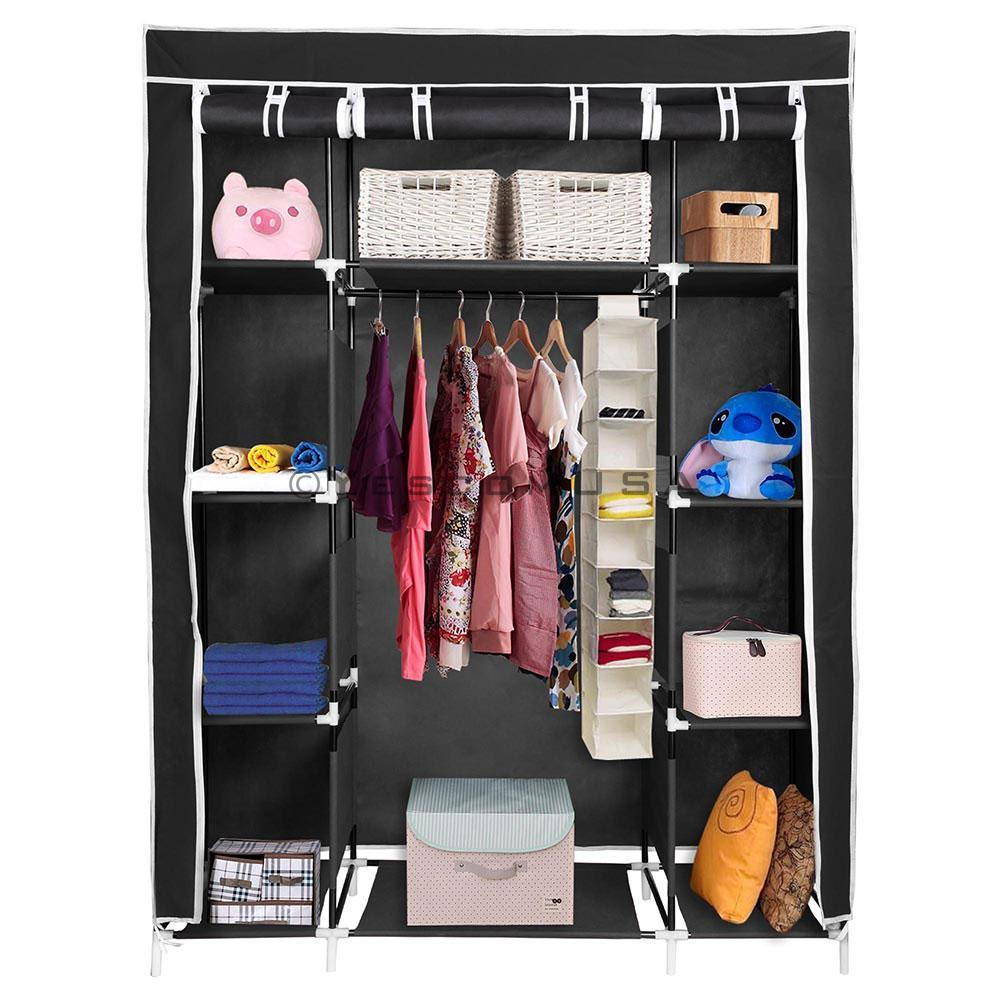 (UK) 127x47x169cm Triple Fabric Foldable Clothes Wardrobe Closet
