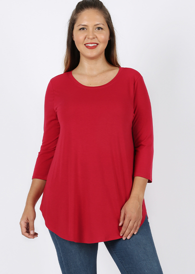 Red 3/4 Sleeve Round Neck Size 3X