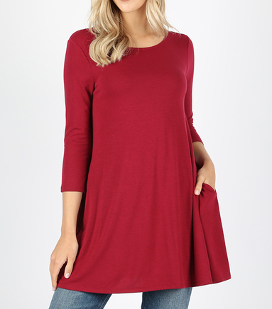 3/4 Sleeve Dark Red Round Neck Tunic Size L