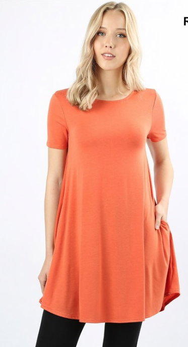 Deep Coral S/S Round Neck Tunic Size M