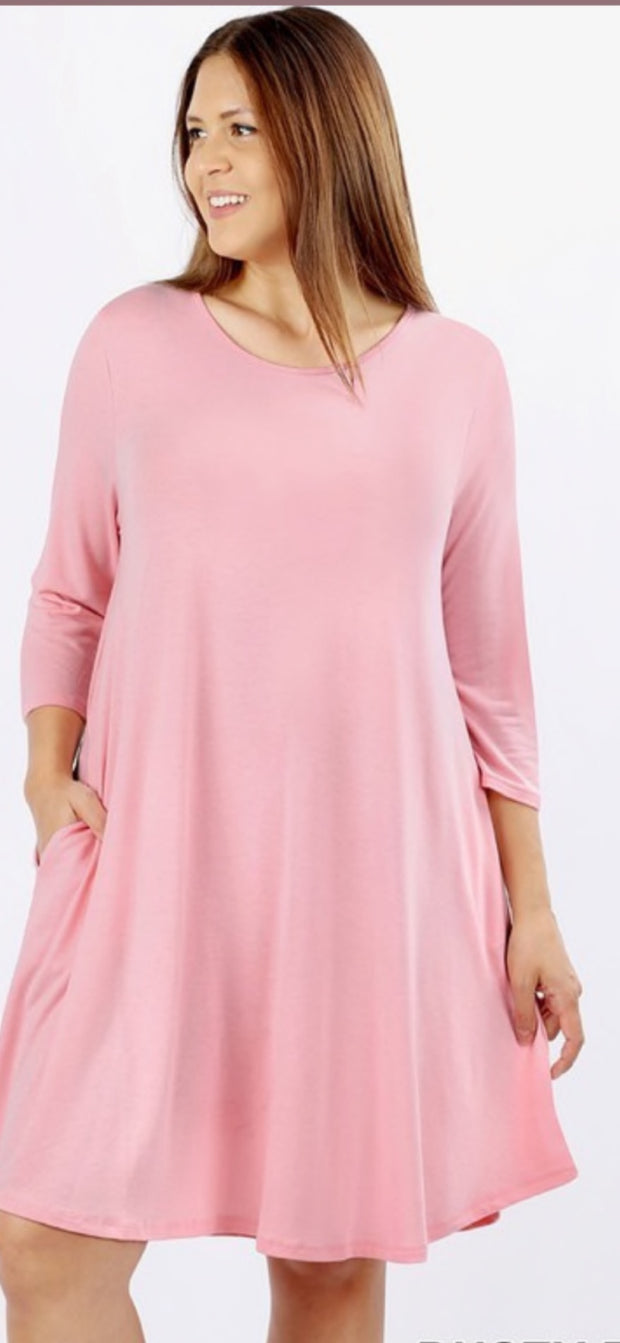 Light Pink 3/4 Sleeve Tunic Size L