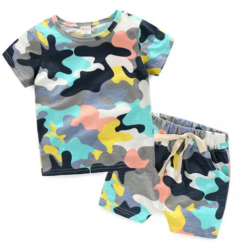 Color Block Camo Shorts Set