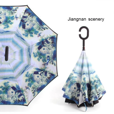C Handle Windproof Reverse Folding Umbrella