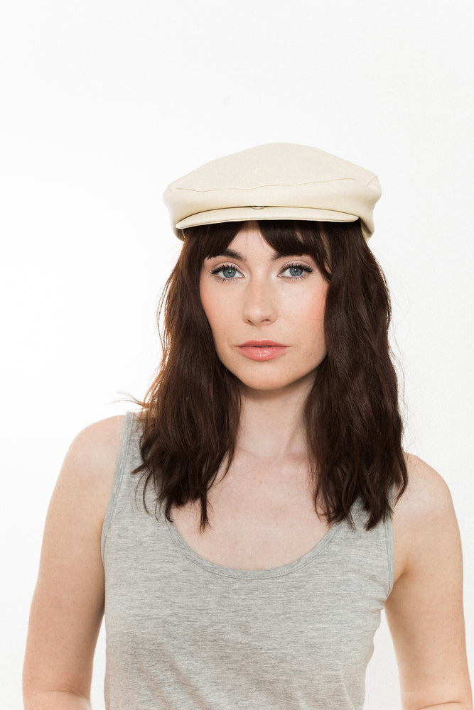 Vegan Cream Faux Leather Flat Cap  Kinderwilder