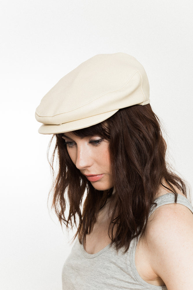 Cream Faux Leather Flat Cap Vegan UK Kinderwilder