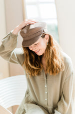 Taupe Faux Suede Baker Boy Cap Kinderwilder UK