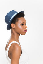 blue summer fedora sun hat Vegan Kinderwilder