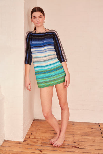 Rose Carmine - Stripe Blue Dress