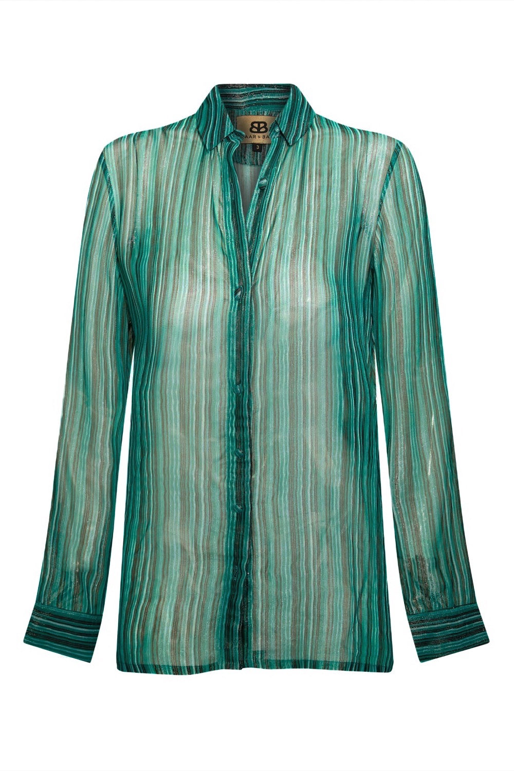 Baar and Bass - Green Stripe Lurex Willa Shirt