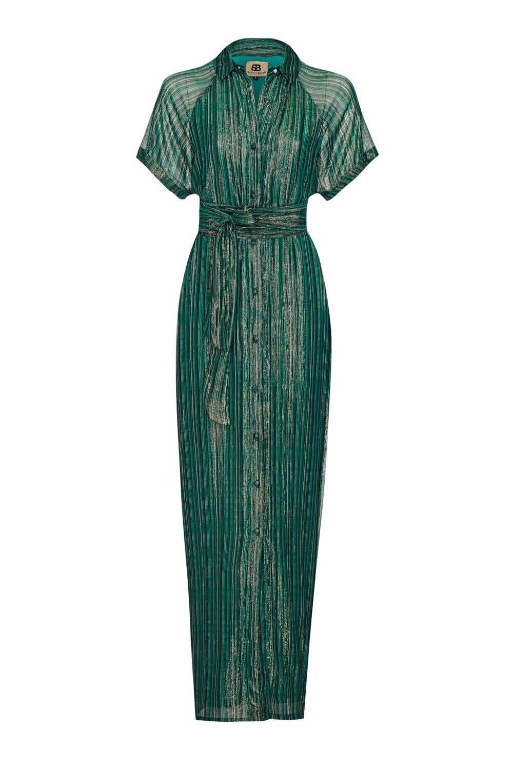 Baar and Bass - Green Stripe Lurex Birdie Dress