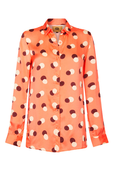 Baar and Bass - Orange Dot Silk Willa Shirt