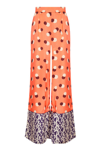 Baar and Bass - Orange Dot Silk Suki Pants