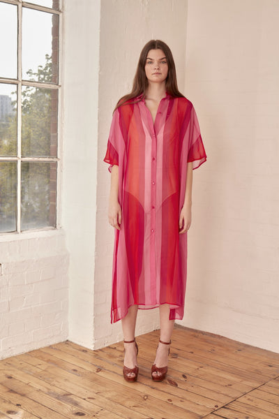 Dhela - Pink Silk Shirt Dress